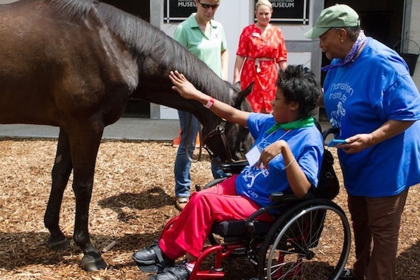 A young girl in a wheelchair petting a horse.